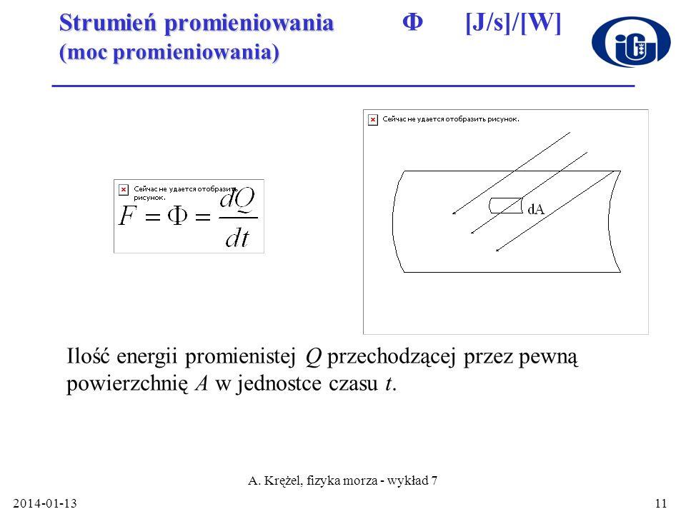 Strumień promieniowania Φ [J/s]/[W] (moc promieniowania)